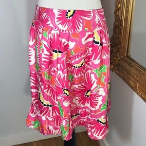 LILLY PULITZER floral silk & cotton skirt w/pocket